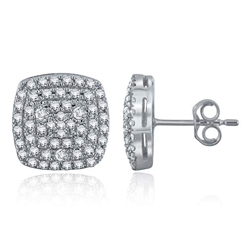 (0.75 CTTW White Diamond 14 Karat White Gold Prong Setting Pin & Push Back Rectangle Stud Earrings (H-I Color, I1-I2 Clarity))