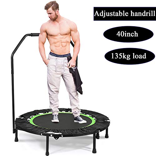 Plohee Portable & Foldable Fitness Workout Mini Rebounder Trampoline 40 Inch Max Load 300lbs with Adjustable Handrail for Indoor Garden Workout Cardio Exercise (Color2) ()