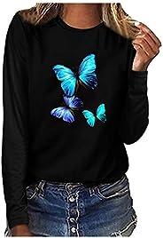 Camisetas femininas de manga comprida com gola redonda e estampa de borboleta