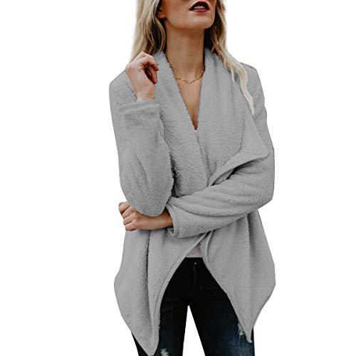 chaqueta abierta las de Outwear tamaño difusa tamaño ZFFde de Color la M de delantera rebeca Invierno la de mujeres Grey Chaqueta gran IBXZAz