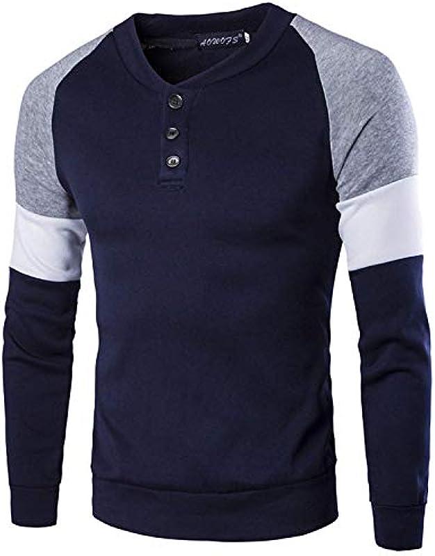 Męska jesień zima bluza sweter długi rękaw okrągły dekolt kontrastowy kolor odzież Fashion Casual Slim Fit gÓrne części topy: Odzież