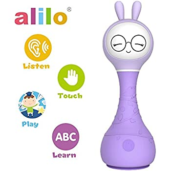 alilo Smarty Bunny Shake and Tell Baby Rattle Color Educational Toys Interactive with Story Music Player Purple