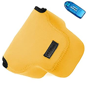 First2savvv QSL-RX10A-07G10 Funda Cámara Reflex Neopreno Protectora para Sony Cyber SHOT DSC HX300 H300 naranja + Lector de tarjetas SD