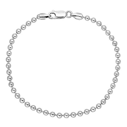 3mm Solid 925 Sterling Silver Pallini Style Ball Italian Crafted Bracelet, 8