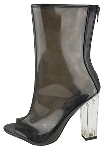 Chase & Chloe Women's Clear Back Zipper Lucite Perspex Block Heel Ankle Bootie (8.5 B(M) US, Black) (Clear Ankle Boots)