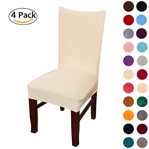Colorxy Velvet Spandex Fabric Stretch Dining Room Chair Slipcovers Home Decor Set of 4, Light Beige