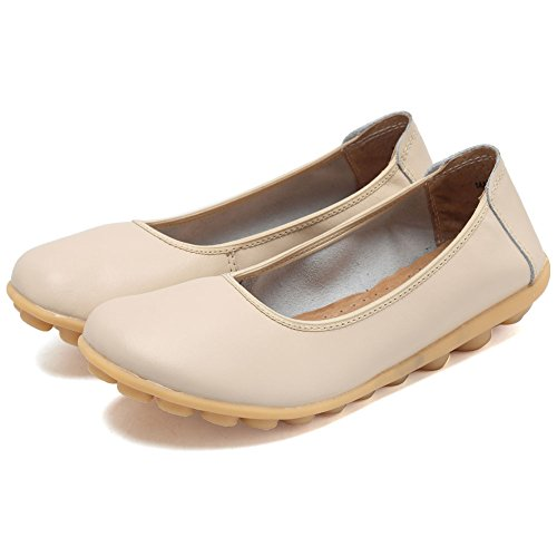 CIOR Damen Echtes Leder Loafers Casual Mokassin Fahr Schuhe Indoor Flache Slip-On Hausschuhe Beige