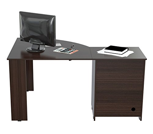 Legs Work Centers - HomeRoots ?L? Shaped Work Center with Metal Legs and Two Drawers - Melamine/Engineered wood