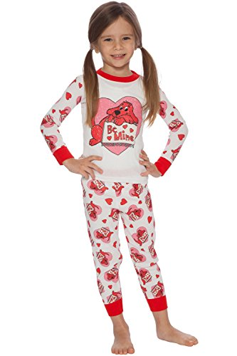 Clifford Toddler Girls' 'Be Mine' Valentine Pajama Set, White, 3T (Valentine Mine Be)