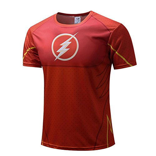 Men's Red Flash Dri-fit Workout Shirt Short Sleeve Halloween Costume 2XL]()