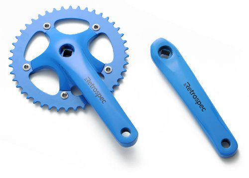 Blue Single Set (Retrospec Bicycles Fixed-Gear Crank Single-Speed Road Bicycle Forged Crankset, Blue, 48T)