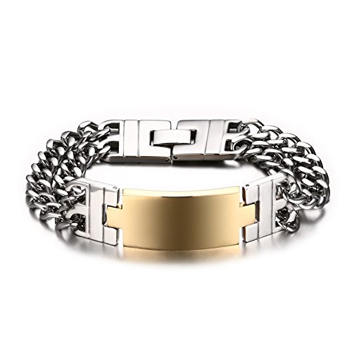 Gold Mens Id Bracelet - Stainless Steel Double Link Chain Gold ID Bracelet for Men (Free Engraving),Bold and Chunky