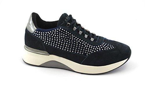 Cafènoir Caf Noir Da526 Vrouwelijke Blauwe Sneakers Geregen Suède Strass Schoenen Blu