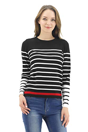 BENANCY Women's Crewneck Striped Long Sleeve Soft Pullover Knit Sweater Tops N Black XS