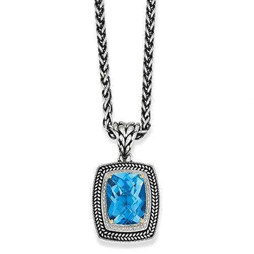 Ster. argenté vieilli jaune 14 carats avec topaze bleue-Pendentif JewelryWeb 18 cm