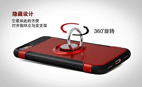 YHUISEN Armor Dual Layer 2 en 1 resistente a prueba de golpes caso de protección con 360 grados de rotación titular del anillo de dedo y el caso del titular del coche del imán para el iPhone SE / 5S / Gray