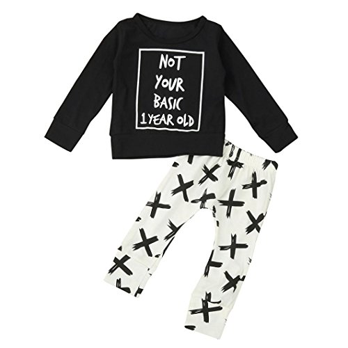 Kids Clothes,NOMENI Infant Baby Boy Long Sleeve Letter Blouse Tops +Pants Outfits Clothes Set (6-12 Months, Black) by NOMENI