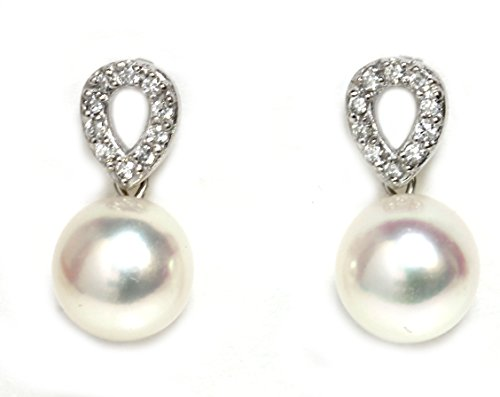 Culture Earrings Pearl (Akoya Pearl Diamond Unify Earrings 8.5-8 MM 14k White or Yellow Gold Top Quality (White Gold-AAA Falwless))
