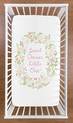 - Sweet Jojo Designs Blush Pink, Mint and White Watercolor Rose Baby or Toddler Fitted Crib Sheet for Butterfly Floral Collection - Sweet Dreams Little One