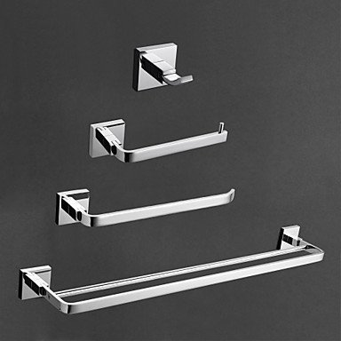 MEI Contemporary Brass Chrome Finish Bathroom Accessory Sets, 4-Piece Bath Collection Set by MEI