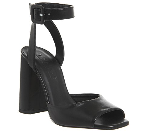 Heartly Office Heels Leather Black Strap Ankle Block T1px1qf