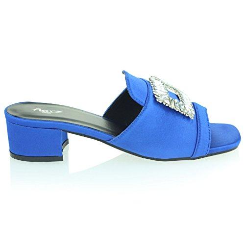 Mujer Señoras Broche Detalle Diamante Ponerse Tacón de Bloque Noche Casual Fiesta Sandalias Zapatos Tamaño Azul Real