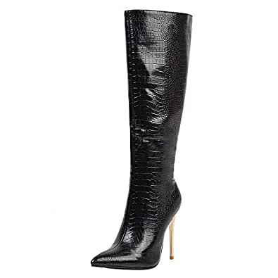 TAOFFEN Women Classic Thin High Heels Tall Boots Animal Print Knee High Boots with Zipper Pointed Toe Boots Black Size 35 Asian