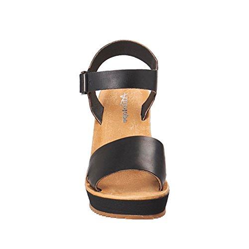 Antilopen Dames 715 Leren Donkere Onderband Sandalen Zwart