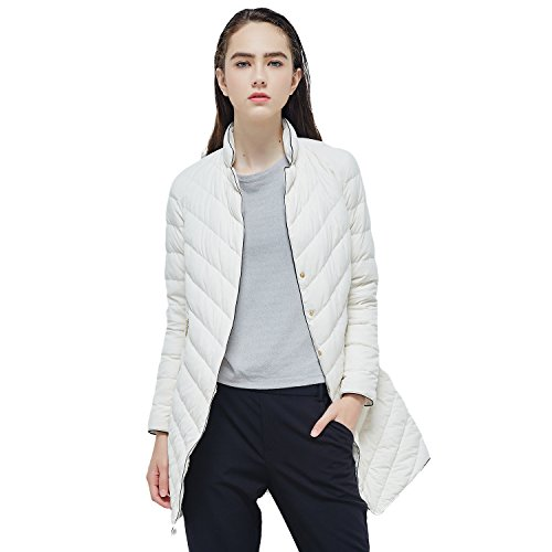 BOSIDENG Women's Winter Goose Down Coat Notched Lapel Long OL Down Jacket Regular Top Ultra Light Slim Outerwear(180/100A (Goose Down Winter Coat)