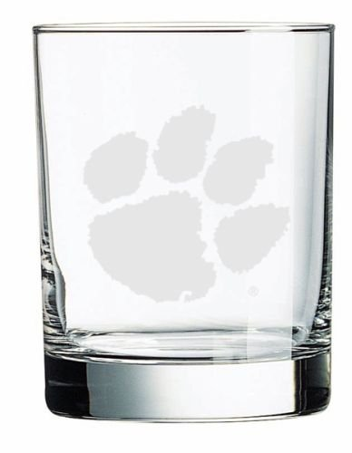(Clemson Tigers Deep Etched Double Old Fashion Glass)