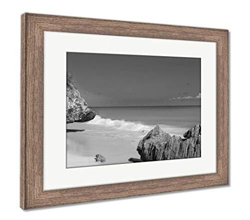 Ashley Framed Prints Tulum Beach Near Cancun Turquoise Caribbean, Wall Art Home Decoration, Black/White, 34x40 (Frame Size), Rustic Barn Wood Frame, AG5947555