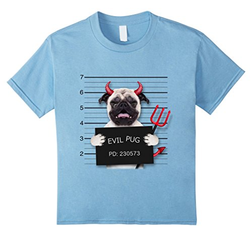 Kids T-Shirt, Devil Pug in Mug Shot, Crying Dog, Halloween 10 Baby (Halloween Mugshots)