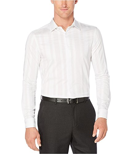 Perry Ellis Mens Dobby Striped Button Up Shirt Brightwhite XL Perry Ellis Silk Shirt