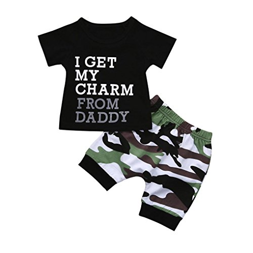 FEITONG Toddler Kids Baby Boy Letter T shirt Tops+Camouflage Shorts Outfits Clothes (Le Top Boys Coverall)