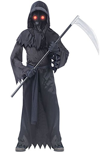 Grim Reaper Costumes Kids (Fun World Big Boy's Fade In/Out Unknown Phantom Grim Reaper Child Costume Childrens Costume, Black, Large)