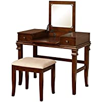 Linon Vanity Set, Angela Walnut