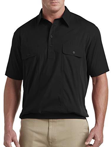 Harbor Bay by DXL Big and Tall Short-Sleeve Mesh Panel Banded-Bottom Shirt (1XL, Black)