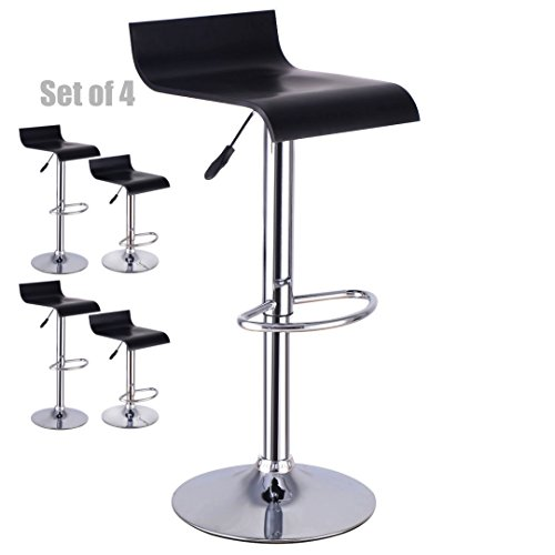 Contemporary Bentwood Bar stool Adjustable Height 360 Degree Swivel Solid Polished Wood Seat Stable Footrest Chrome Steel Frame Office Pub Chair New - Set of 4 #1227 4 Bentwood Stools