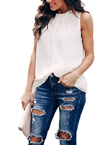 (Pop lover Women Summer Chiffon Blouses Sleeveless Shirt O Neck Pleated Tank Halter Tops (White,)