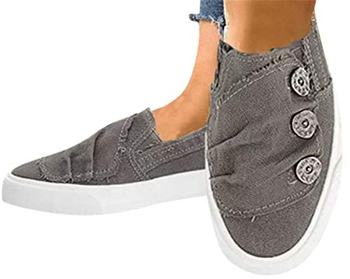 Women Canvas Flat Shoes Sports Running Sneakers Beach Flats Shoes Summer Casual Cowboy Shoes by Gyouanime Gray