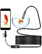 N/A Endoscopio USB de 1 a 10 m, 3 en 1Tipo-C cámara de inspección para industrial, cámara de alcance de 7 mm con cable de boroscopio impermeable IP67, 6 luces LED ajustables para ventanas,Compatible Con ANDROID Y WINDOWS (5M)