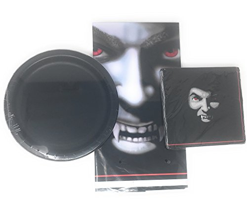 VAMPIRE Themed Halloween Black and White Party Supplies Bundle: 8 Pack Of Dinner Plates, 20 Count of Napkins, and Plastic Table Cloth