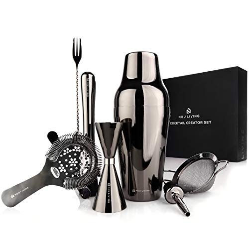 Parisian Cocktail Shaker Set and Mixology Bartender Kit - Premium Stainless Steel Bartending Tools - Drink Shaker, Strainer, Muddler, Jigger, Mixing Spoon & Bar Accessories - Gun Metal Black