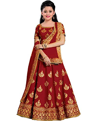 shreeji fashion Lehengha Choli Semi Stitched Lehanga Cholis-Kids Lehenga-Bridal Wear 24  Girls 8-13 yrs   Fancy Designer Gagra Choli Suits For Weddings   Taffeta Satin Silk