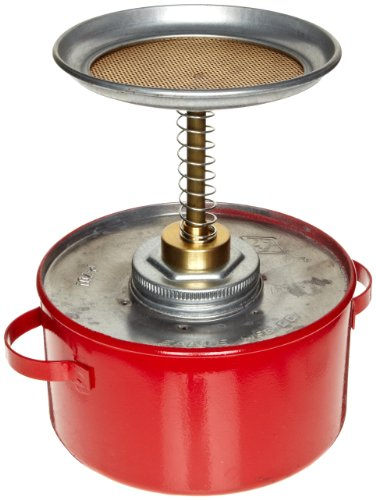Eagle P-701 Plunger Galvanized Steel Safety Can, 1 Quart Capacity, Red