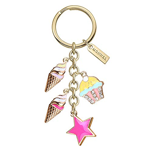 Monnel New Arrival Pink Star Cupcake Ice Cream Charms Pendants Keychain with Velvet Bag Z593 (Ice Cream Keychain)