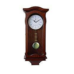 Verona Classic Wood Pendulum Wall Clock with Glass Front - Elegant & decorative wood clock with dark brown finish – 23.5 x 9.75 x 4.75 inch – Quartz movement, battery operated & quiet