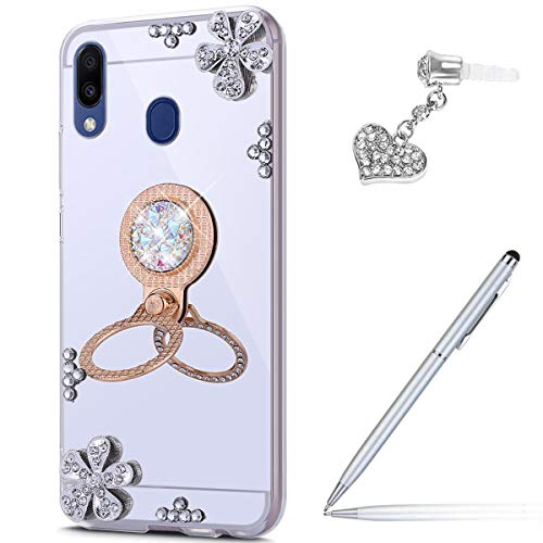 Price comparison product image ikasus Case for Galaxy M20 Diamond Case, Crystal Inlaid diamond Flowers Rhinestone Diamond Glitter Bling Mirror Back TPU Case & Ring Stand + Touch Pen Dust Plug for Galaxy M20 Mirror Case, Silver