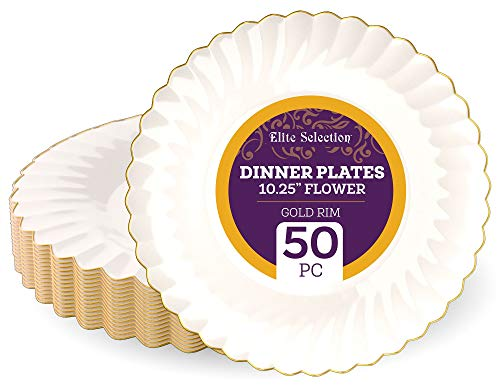 "Disposable Plastic Dinner Plates - 50 Pack 10.25"" Ivory Round Dessert Plate with Elegant Gold Flower Rim Design for Wedding, Birthday, Party - by Elite Selection"