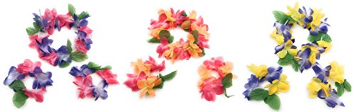 Mahalo Floral Leis Headband and Wrist Set ( Set of 12 -